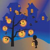 Dziecko z lampą — Zdjęcie stockowe