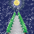 Christmas tree of frame on night background — Stok Fotoğraf #16487513