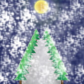 Christmas tree of frame on night background — Stock Photo