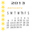 Flower of frame on calender 2013 — Stock Photo