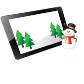 Christmas of frame on tablet — Stock Photo