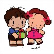Happy children couple of frame on white background — Stock Vector