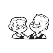 Happy old couple of frame on white background — Stock Vector