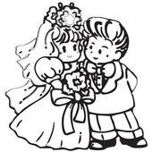 Cartoon wedding couple of frame on white background — Stock Vector