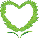 Heart with Leaf — Stock Vector