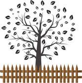 árbol de corazón con la hoja de corazón — Vector de stock