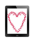 Heart of frame in tablet — 图库照片