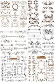 Vektor uppsättning kalligrafiska element för design. kalligrafiska vec — Stockvektor