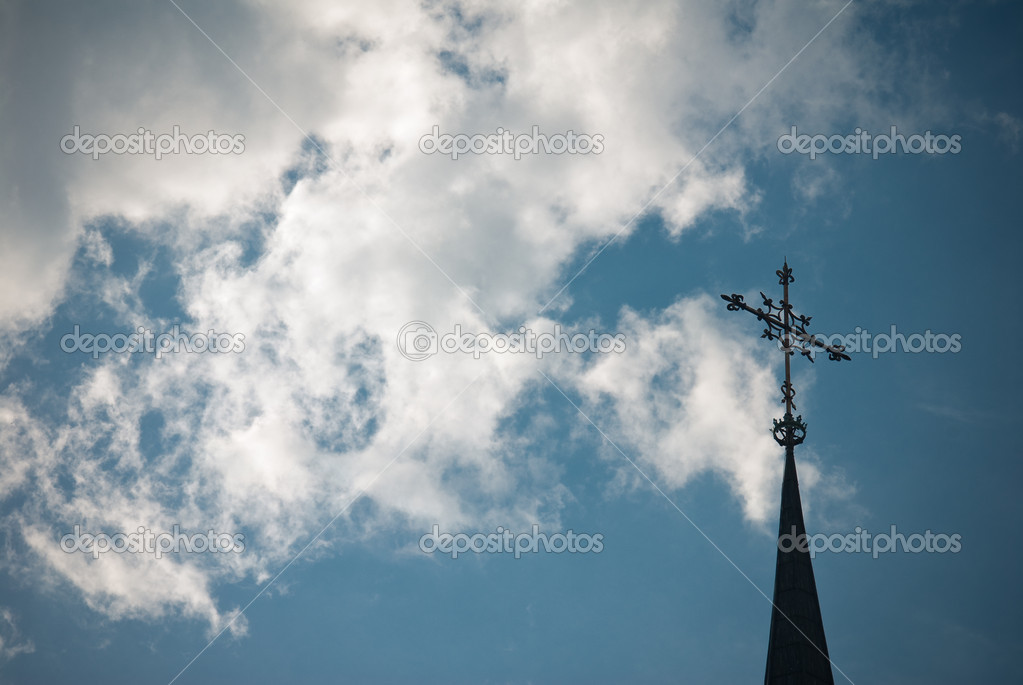 Iron Cross over clouded sky  Stock Photo #13970198
