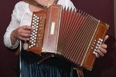 Women and accordion — Stock Photo