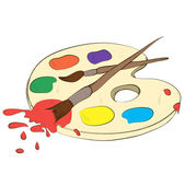 Palette with paints and brushes — Stock Photo