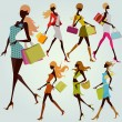 Fashion shopping girls — Stock Vector