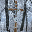 Cross in the snow - Stock Photo