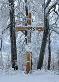 Cross in the snow — Stock Photo
