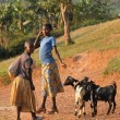 African children living in a poor village Rushooka near city Mbarara in Uganda — Stock Photo