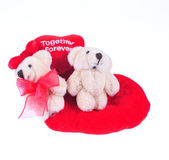 Two teddy bear with red heart — Stock Photo