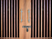 Wood door with bolt — Stok fotoğraf