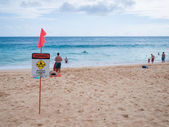 Oahu Hawaii - Warning no swimming sign, Sandy beach — Stock Photo