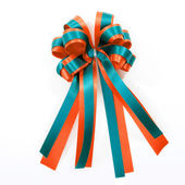 Satin gift bow. ribbon isolated on white — Стоковое фото