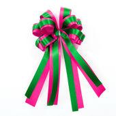Rosa och grön satin gåva båge. menyfliksområdet isolerad på vit — Stockfoto