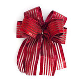 Red Satin gift bow. ribbon isolated on white — Stock Photo