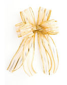 Golden Satin gift bow. ribbon isolated on white — Stock Photo