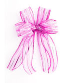 Pink Satin gift bow. ribbon isolated on white — Foto Stock