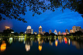 Bangkok city at night view from Suanlum public park — Stock Photo