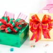 Golden and green gift box — Stock Photo