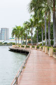 Walkway beside the lake in Bangkok public park — Stock Photo