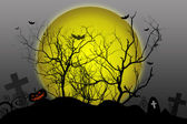 Halloween background silhouettes dead tree on moon — Stock Photo