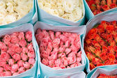 Colorful Roses wrapped in paper — Stock Photo