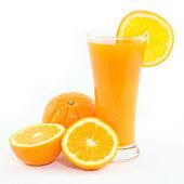 Orange juice and slice isolated on white — Stock Photo