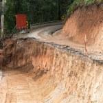 Broken mountain road excavation earthquake — Stock Photo #19683733