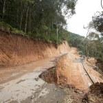 Broken mountain road excavation earthquake — Stock Photo #19683917