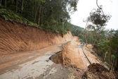 Broken mountain road excavation earthquake — Stock Photo
