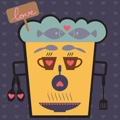 Love Face from kitchen icon set, Valentine's day — ストックベクタ