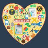 Universal icons set in heart, vector format — Stock Vector