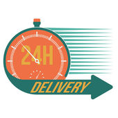24 hour delivery and stop watch symbol, vector format — Stock Vector