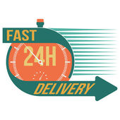 24 hour fast delivery and stop watch symbol, vector format — Stock Vector