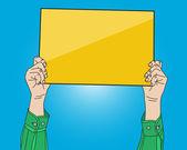 Man hand holding blank paper banner, vector format — Stock Vector