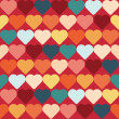 Hearts retro background, vector seamless pattern — Stock Vector