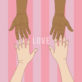 Hand to hand with pink background for Valentines' day, vector fo — Vecteur