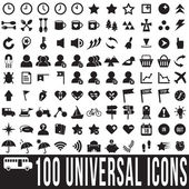 100 universal icons set, vector format — Stock Vector