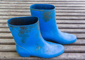 Blue farmer boots — Stock Photo