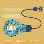 Idea light bulb infographic design template, vector illustration — Vector de stock