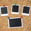 Notice board with blank instant photo prints — Stock Photo