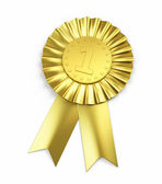 Number one , Golden Award Ribbon — Stock Photo