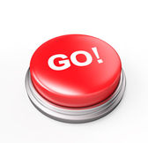 Haydi! kırmızı düğme — Stok fotoğraf