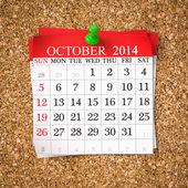 October 2014  Calendar — Stock Photo